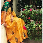 Chanderi Silk Embroidered Yellow Saree