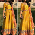 Art Silk Yellow Embroidered Semi Stitched Long Anarkali Suit