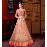 Net Peach Embroidered Unstitched Long Anarkali Suit