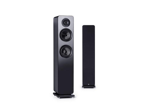 Black Roth OLi RA3 Floorstanding Speakers With and Without Grill