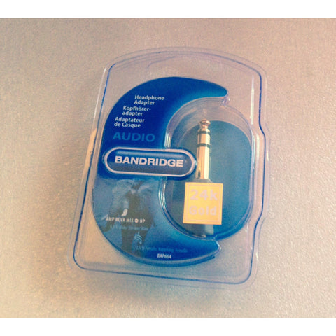 Bandridge 24K Gold Headphone Adapter 6.3mm - 3.5mm Jack plug - Kronos AV