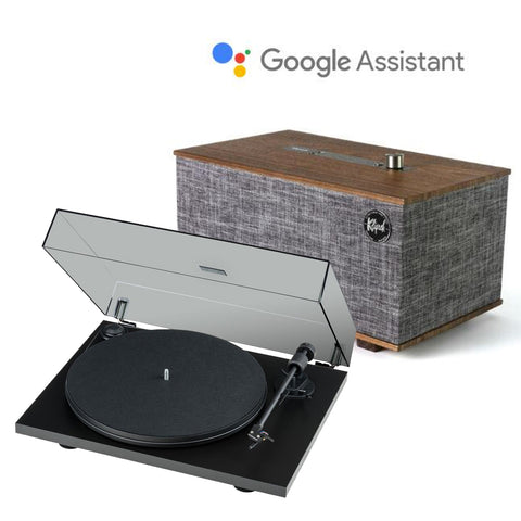 Klipsch The Three with Google Assistant Bluetooth Speaker & Pro-Ject Primary E Phono Turntable