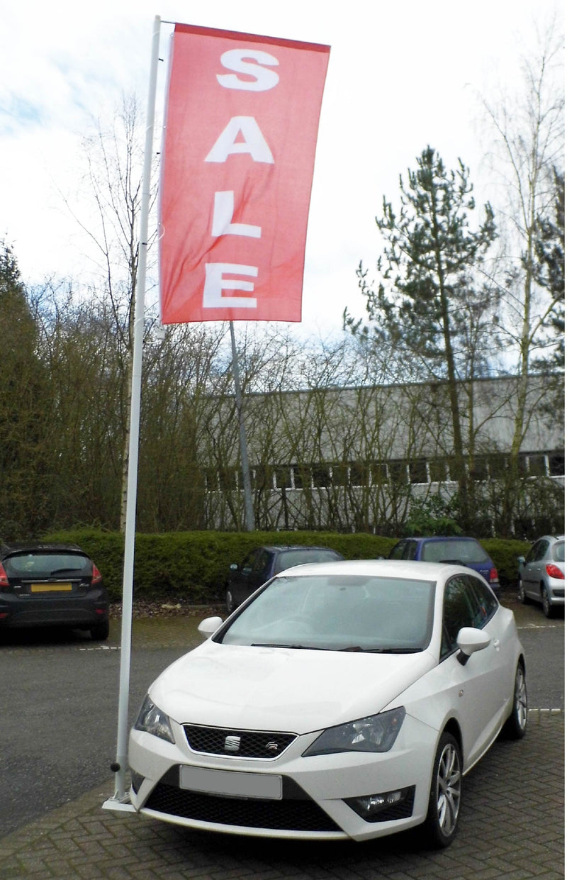 Car Forecourt Flagpole 4.95m with drive on base - With a Flag