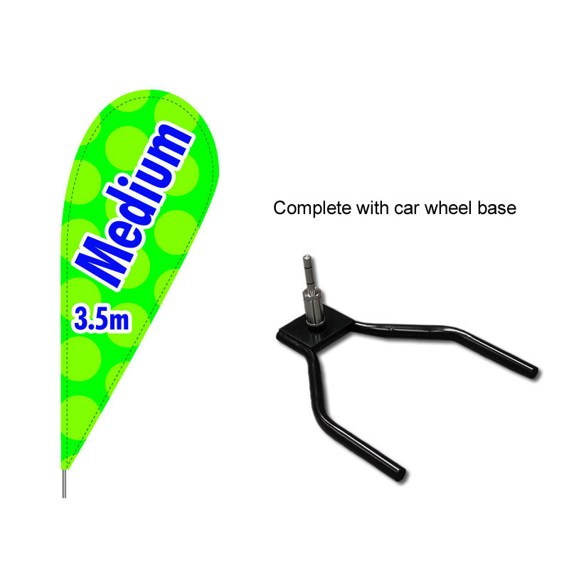 Medium Teardrop Flag with drive on car base