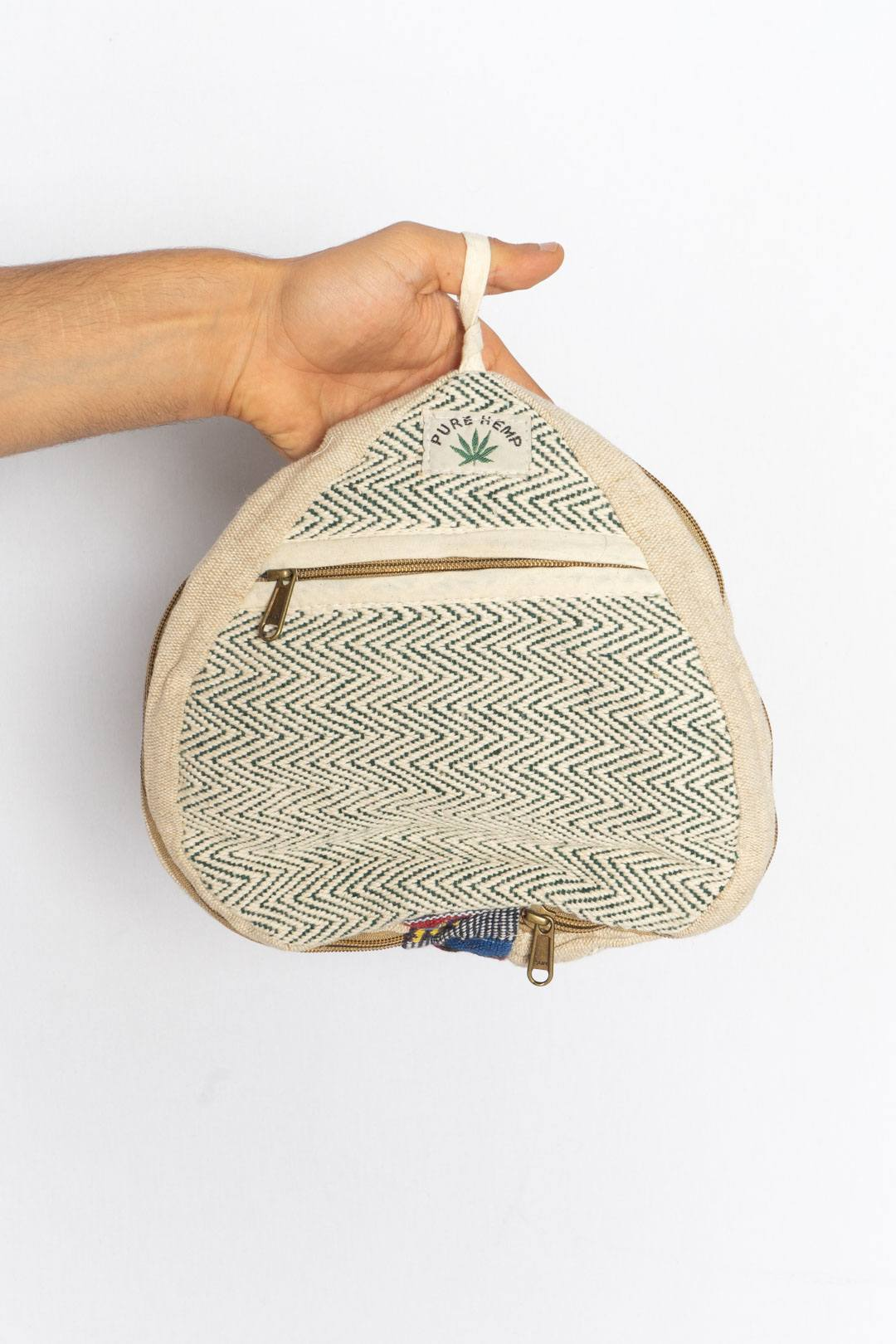 Pure Hemp Beige Green Strippes Backpack - VinoKilo.com