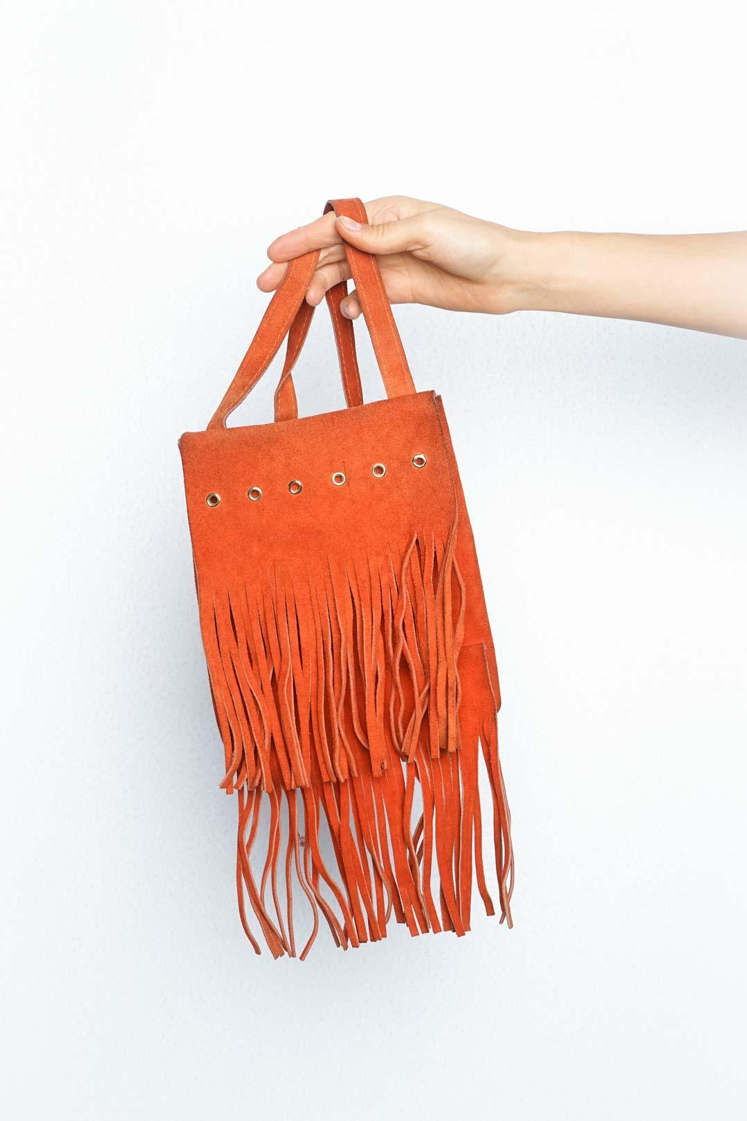 Orange Fringe Leather Bag - VinoKilo.com