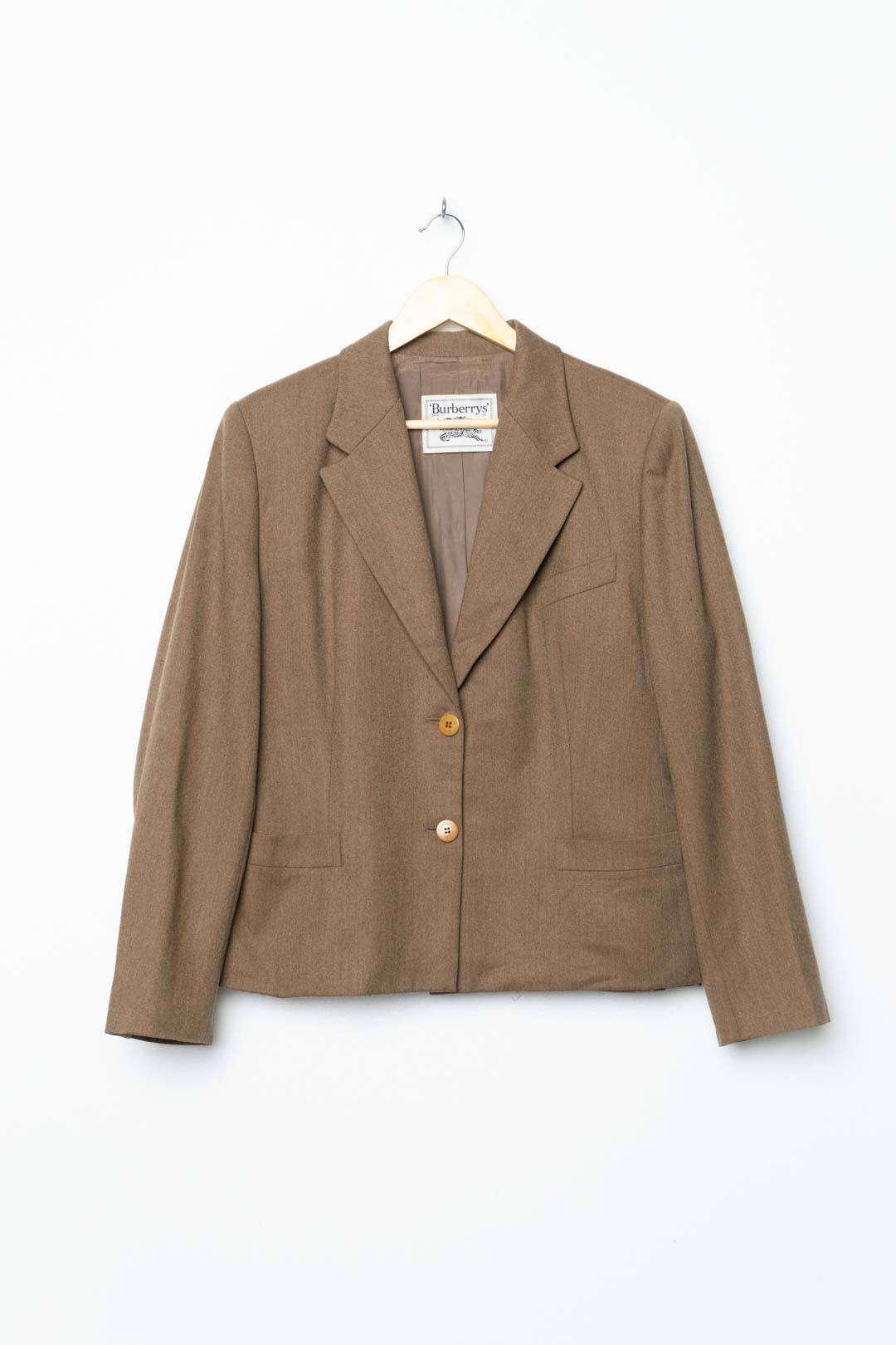 Beige Brown Burberry Blazer Small Stains L - VinoKilo.com