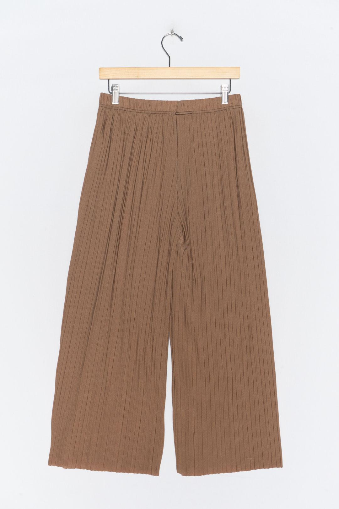 Brown Pleated Culottes L - VinoKilo.com