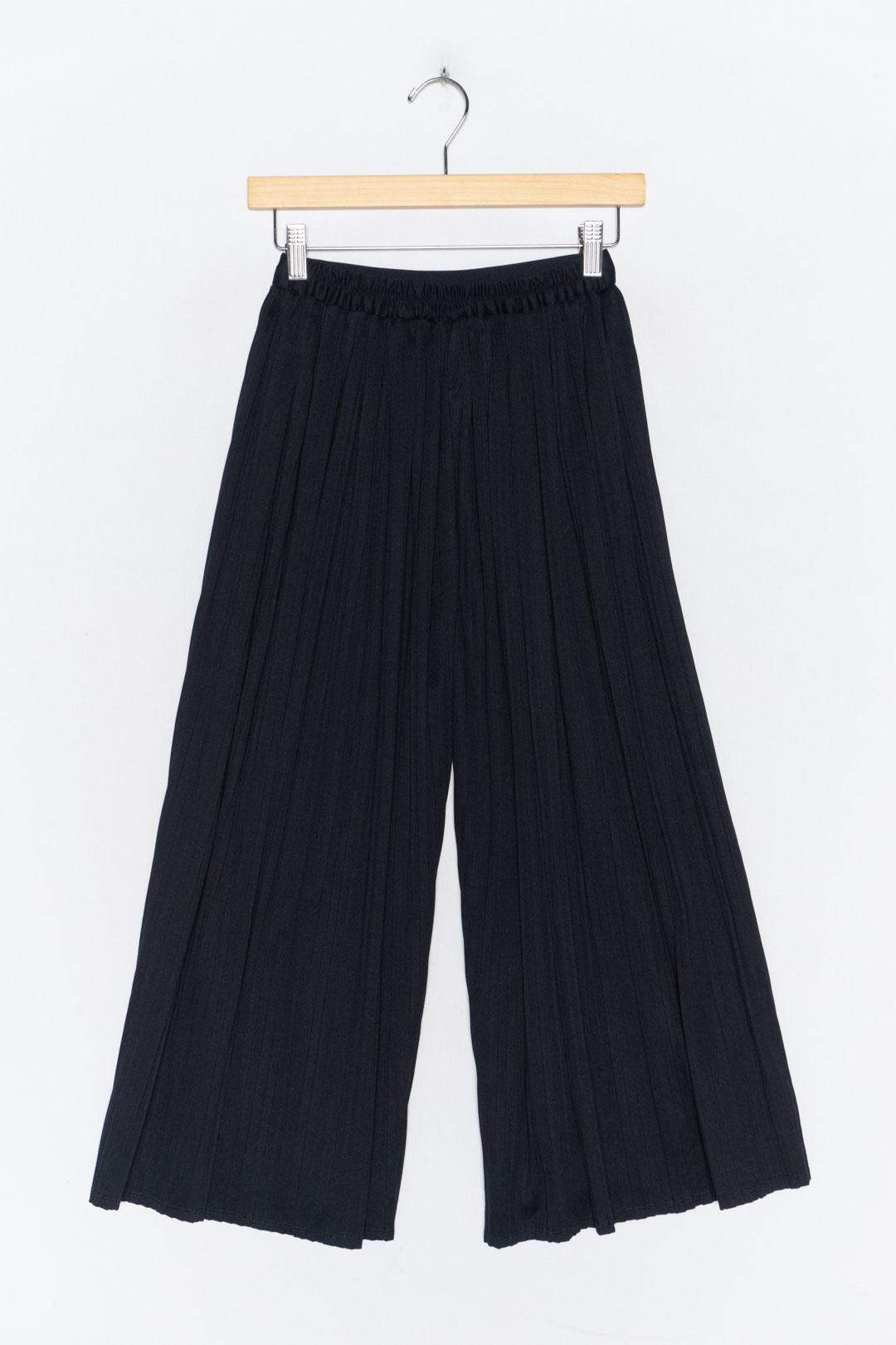 Dark Blue Pleated Culottes S - VinoKilo.com