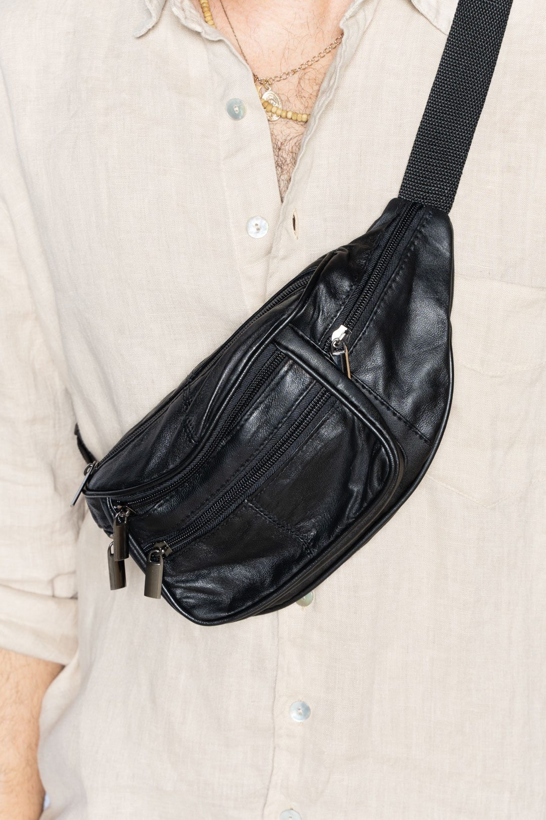 Black Leather Fanny Pack - VinoKilo.com