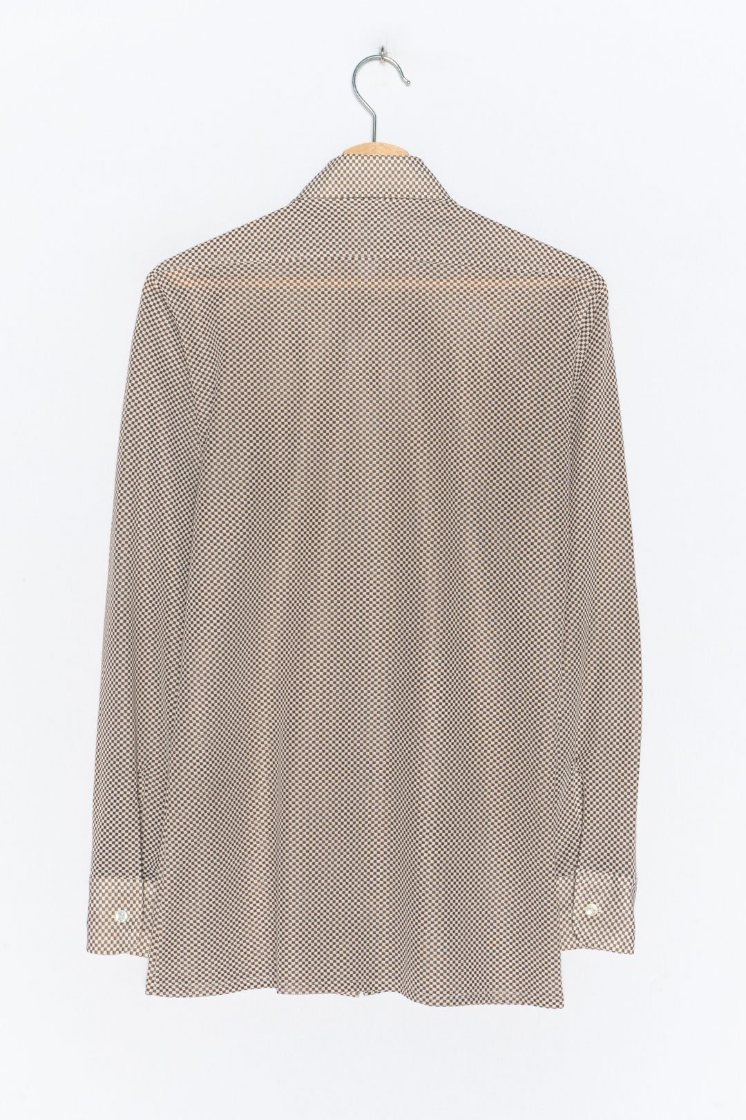 Brown White Blouse Long Sleeve M - VinoKilo.com