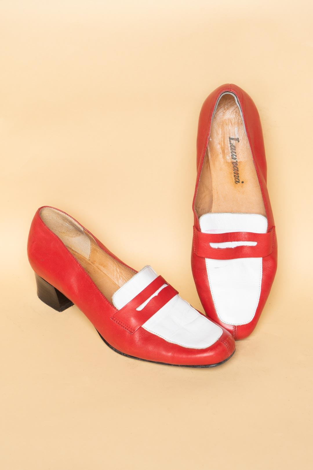 Red White Leather Shoes - VinoKilo.com