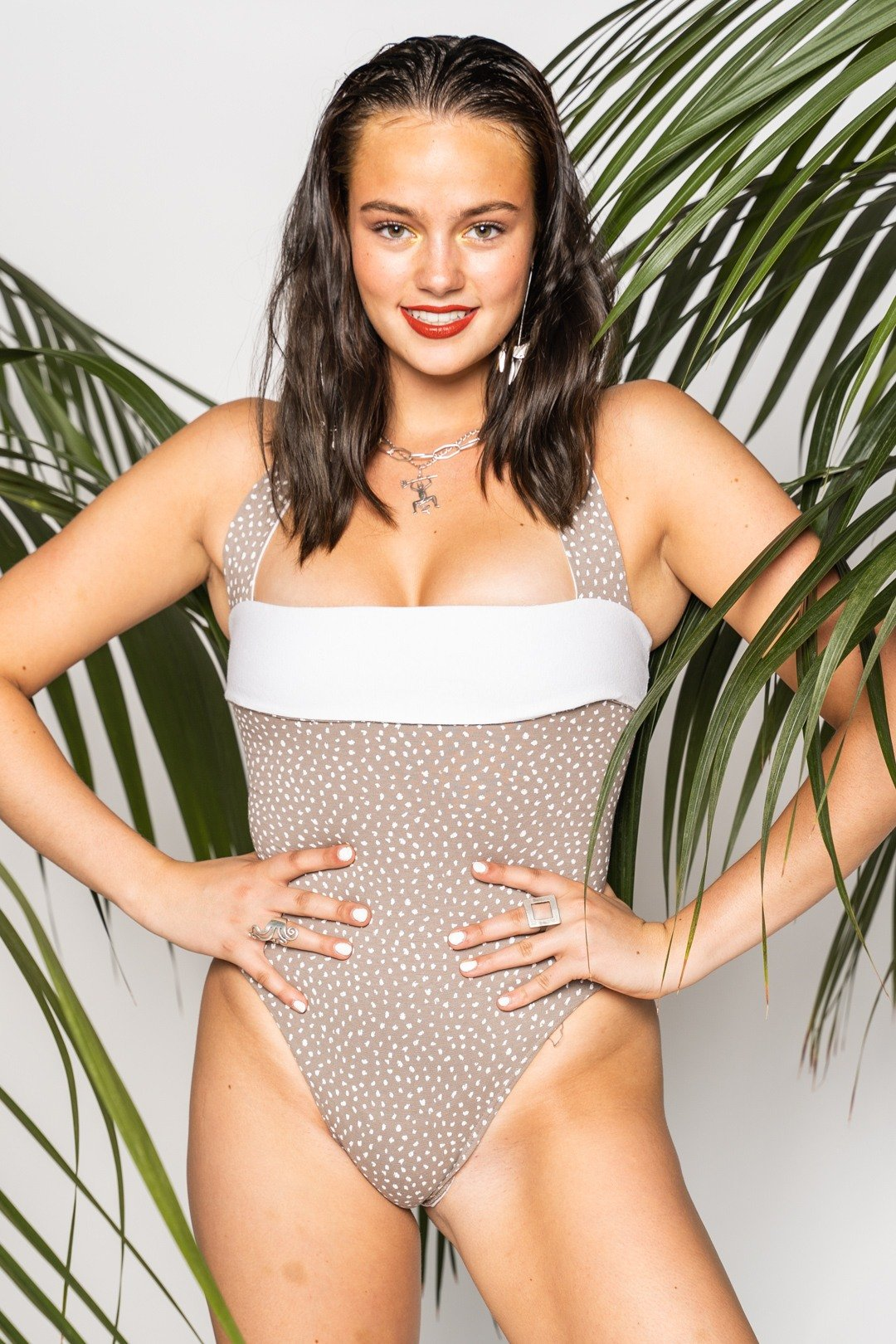 Beige White Dotted Swimsuit S - VinoKilo.com