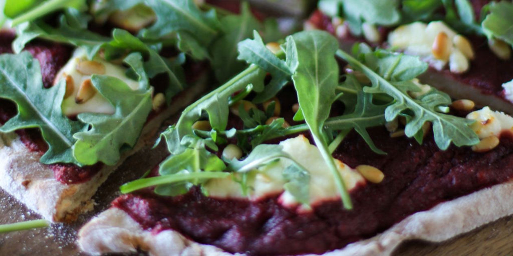 Beetroot pizza with goats' cheese