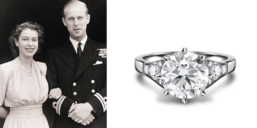 A contemporary interpretation of Queen Elizabeth II 's engagement ring.