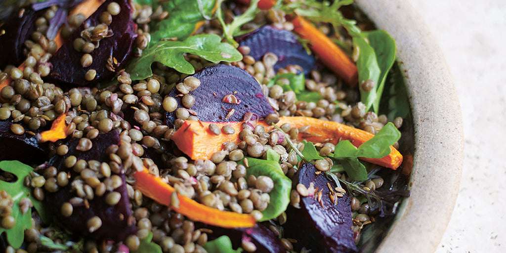 Roasted beetroot, carrot, lentil and cumin seed salad