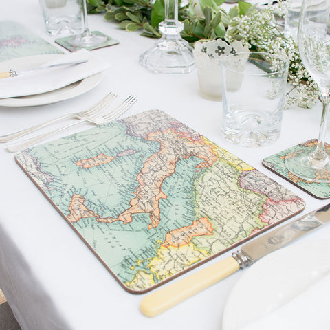 Set of 4 Personalised Vintage Map Placemats