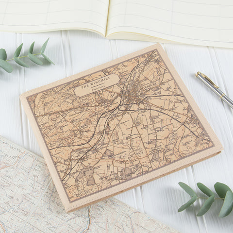 Personalised Vintage Map Leather Visitors Book