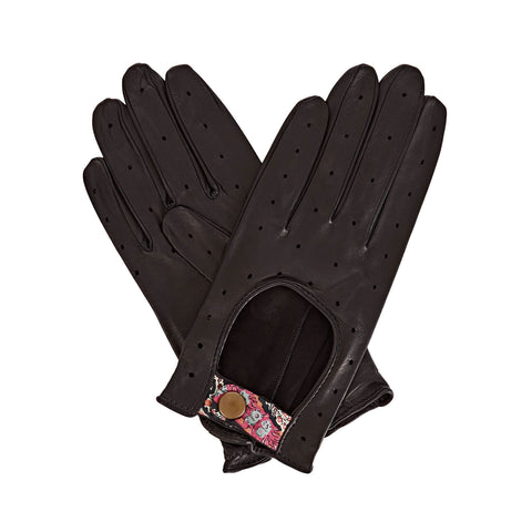 Bernadette  Women's Leather Driving Gloves in Black