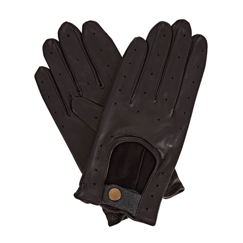 Bernard  Men's Leather Driving Gloves in Black