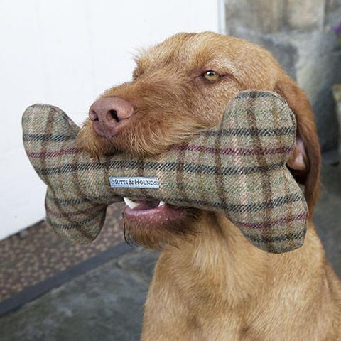 Luxury Balmoral Tweed Squeaky Bone Toy  - Mutts and Hounds
