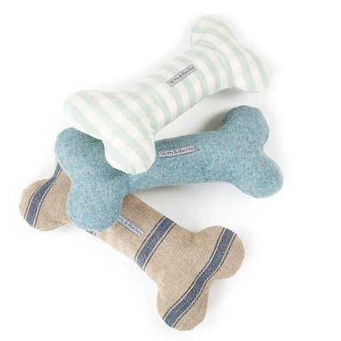 Luxury Navy Nordic Stripe Squeaky Bone Toy  - Mutts and Hounds