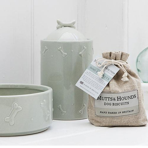 Luxury Sage Green Ceramic Biscuit Jar  - Mutts and Hounds