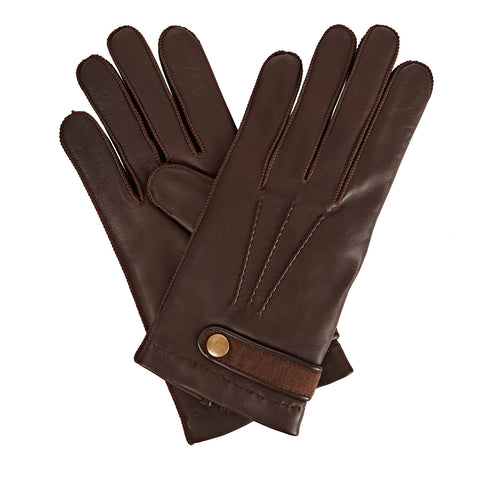 Alfie  Men's Leather Gloves in Dark Brown