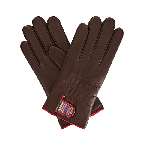 Anna Women's Leather Gloves in Dark Brown
