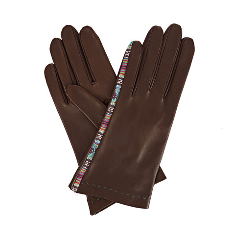 Arabella Women's Leather Gloves in Dark Brown