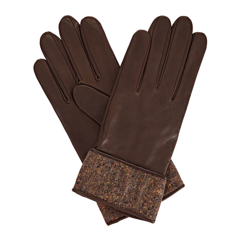 Beatrisa Women's Leather Gloves in Dark Brown