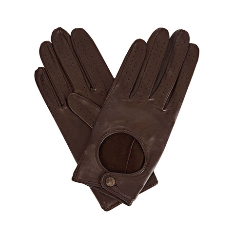 Bega  Women's Leather Driving Gloves in Dark Brown