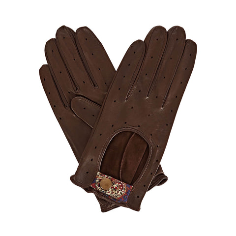 Bernadette  Women's Leather Driving Gloves in Dark Brown