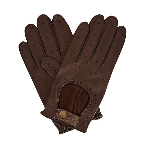Bernard  Men's Leather Driving Gloves in Dark Brown