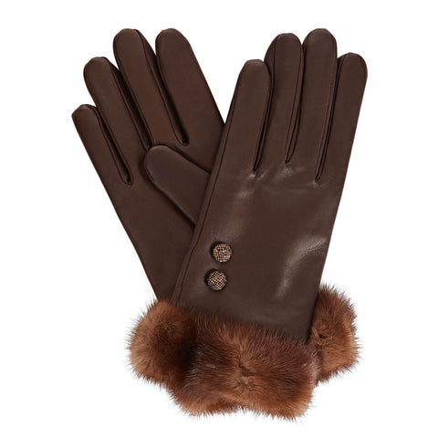 Lady V Women's Leather Gloves in Dark Brown