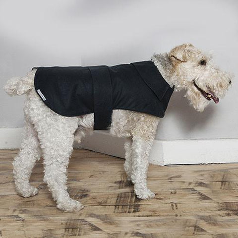 Luxury Navy Waxed Waterproof Coat  - Mutts and Hounds