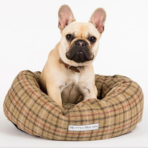 Luxury Balmoral Check Tweed Donut Bed  - Mutts and Hounds
