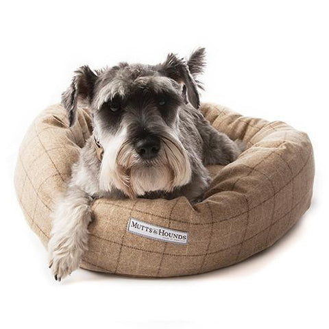 Luxury Oatmeal Check Tweed Donut Bed  - Mutts and Hounds