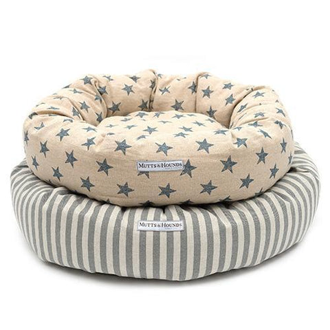 Navy Star Linen Donut Bed