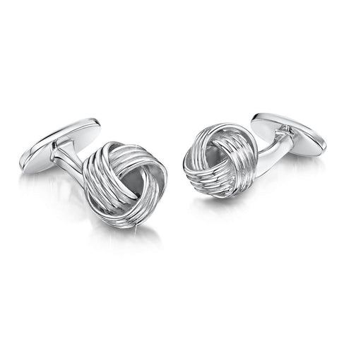 Engravable Sterling Silver Knot Cufflinks