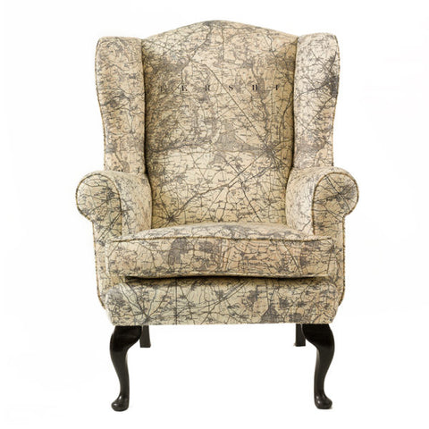 Personalised Map Upholstered Wingback Armchair