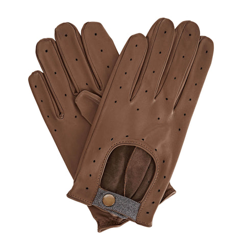 Bernard  Men's Leather Driving Gloves in Grey