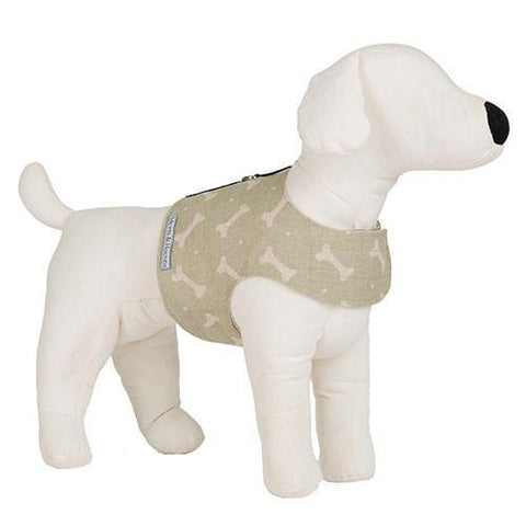 Luxury M&H Sage Bone Linen Soft Harness  - Mutts and Hounds
