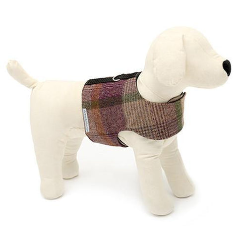 Luxury Grape Check Tweed Soft Harness  - Mutts and Hounds