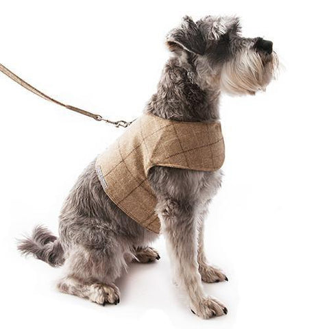 Luxury Oatmeal Check Tweed Soft Harness  - Mutts and Hounds