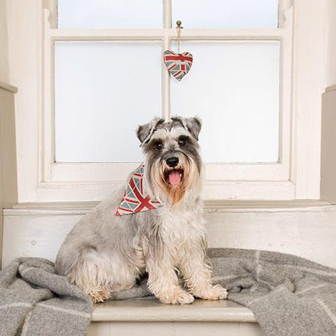 Luxury Union Jack Linen Lavender Heart  - Mutts and Hounds