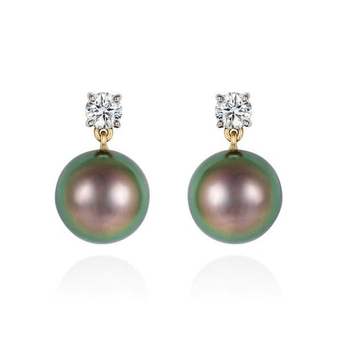 MINKA GEMS  Tahitian Pearl and Diamond Earrings