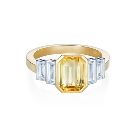 MINKA GEMS  Yellow Sapphire and Diamond Ring