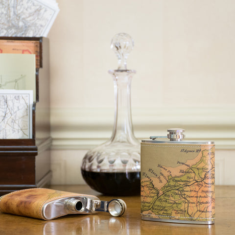 Personalised Vintage Map Leather Hip Flask
