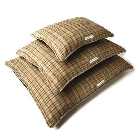 Luxury Balmoral Tweed Pillow Dog Bed  - Mutts and Hounds